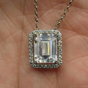 "19"" Sterling Emerald Cut Cubic Zirconia Necklace"